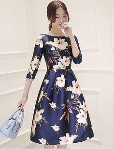 Mulheres Vestido Bainha Vintage Floral Altura dos Joelhos Decote Redondo Poliéster de 4926832 2016 por $18.99