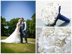 Wit met blauw broches boeket en klein zijdebloemen boeketje White & blue brooch bouquet