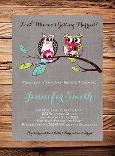 Owls Vintage Birdcage Invitation, Gray Linen, Vintage Bridal Shower Invitation, Wedding Shower, Birdcages, Pink, Green, Owls, Bridal Shower on Etsy, $21.00
