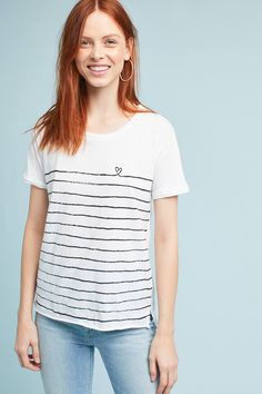 Rolled-Sleeve Striped Tee
