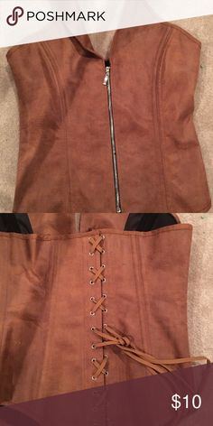 Brown pleather halter bustier, brown Says 2 XL , actually bout a 35-40 d-dd. Nwot Intimates & Sleepwear Bras