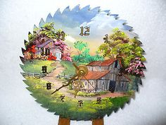 free saw blade paintings   Hand Painted Oil Painting on Round Saw Blade Clock   eBay