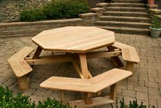 Octagon Wood Picnic Table Design with Attached Benches