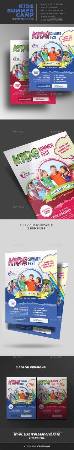 Kids Summer Camp Flyer - Events Flyers I Download here: https://graphicriver.net/item/kids-summer-camp-flyer/15766128?ref=jpixel55