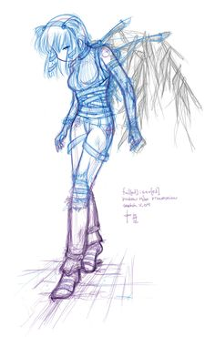More progress on the Broken:Miho progression sketch, fail[ed]:save[d], not looking too bad.  Not happy with how she interacts with the ground, also i plan to have her in boots … or that was the original plan.  Still thinking about how that will work.