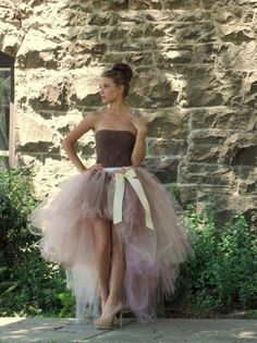 MADE TO ORDER This stunning high low tutu is sewn with an elastic waist. Colors pictured: Dusty Rose, Champagne and Brown You may request custom colors but if no colors are indicated in Note to Seller you will receive the colors pictured. Bow can be add Tulle Dress, Dress Up, Dress Clothes, Dress Skirt, Karneval Diy, Engagement Photo Dress, Robes Tutu, Adult Tutu, Skirt Outfits