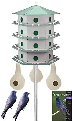 Heath 24-Room Deluxe Purple Martin House & Gourds Kit. This comprehensive package allows a martin colony to thrive in your backyard. Contains 24-Room Deluxe Martin House, Martin House Pole, Gourds, Decoys and a Book. Provides your martins options for roosting, with both traditional and gourd housing. Included decoys help attract martins, and the book offers other tips.
