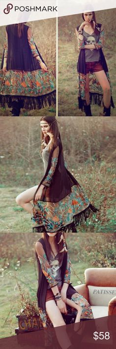 Boho Floral Black Lace Fringe Kimono Duster Jacket Sexy bohemian Kimono style pull on is perfect for balmy nights and festivals. Features mesh lace and fringe hem. Not FP, similar indie brand. NWT  Free People Jackets & Coats