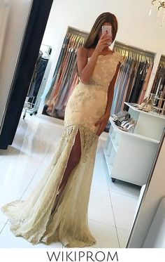 2019 One Shoulder Mermaid Prom Dresses Tulle With Applique And Slit, This dress could be custom made, there are no extra cost to do custom size and color