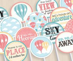 HOT AIR BALLOON Baby Shower Party Circles & Cupcake Toppers. $5.00, via Etsy.