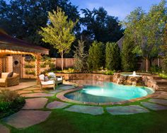 A natural pool setting creates a oasis in the midst of a busy neighborhood.