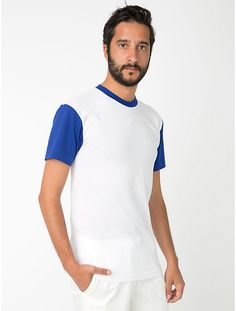 "Premium Tshirts ""American Apparel"" are available in more than 35 colours. Colour: White Lapis. The perfect 50/50 blend creates a soft and comfortable slim-fitting T-shirt. Its smooth surface is ideal for screen printing, embroidery and other embellishment. Poly-Cotton (50% Polyester / 50% Combed-Cotton) construction. Durable rib neckband."