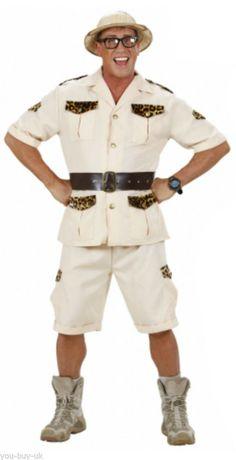 410645296c8fc Mens Safari Man Costume For Adventurer Hunter Fancy Dress Outfit