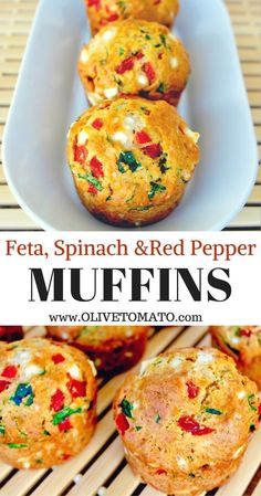 Feta, Spinach & Red Pepper Muffins Savory Mediterranean inspired muffins, packed with spinach, sweet red peppers and feta. Perfect for a snack or breakfast. snacks, Savory Feta Spinach and Sweet Red Pepper Muffins Gourmet Recipes, Snack Recipes, Cooking Recipes, Healthy Recipes, Muffin Recipes, Brunch Recipes, Cake Recipes, Mediterranean Breakfast, Mediterranean Diet Recipes