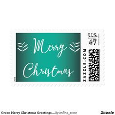Green Merry Christmas Greetings Postage Stamps