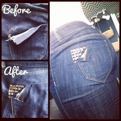 Todays DIY! Fix to a ripped jean pocket... Oh good getting closer to how to fixed a ripped rear...