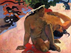 Are You Jealous? by Paul Gauguin in oil on canvas, done in Now in Pushkin Museum of Fine Art. Find a fine art print of this Paul Gauguin painting. Paul Gauguin, Henri Matisse, Gustav Klimt, Gauguin Tahiti, Fondation Louis Vuitton, Expositions, Oil Painting Reproductions, Magritte, Museum Of Fine Arts