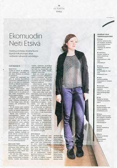 Nurmi-merkin suunnittelija Anniina Nurmi Helsingin Sanomien Torstai-sivuilla elokuussa 2013.