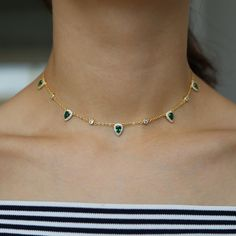 Bohemia 2018 gold color green stone statement chain necklace choker fashion jewelry for women elegance gift stylish jewelry Outfit Accessories From Touchy Style 14k Gold Necklace, Diamond Solitaire Necklace, Green Necklace, Diamond Choker, Star Necklace, Diamond Studs, Gold Earrings, Pendant Necklace, Charm Jewelry