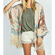 Love the Soft Colors of this Kimono....Perfect for Fall!! TrendsGal.com