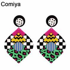 Comiya 2017 punk De Mode grande longue acrylique feuille charme Boucles D'oreilles pour les femmes bijoux brincos gros d'été style boucle d'oreille