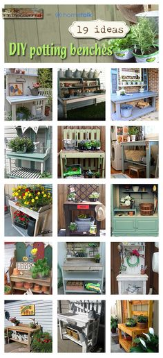 Fabulous potting bench ideas from repurposed materials.