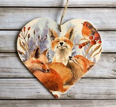 Excited to share this item from my shop: Fox & Robin wooden hanging heart ~ Woodland Fox Cubs Heart, Autumn Winter Home Decor,Fox door hanger Winter Home Decor, Winter House, Cunning Fox, Fox Home, Scandi Christmas, Fox Decor, Fox Print, Hanging Hearts, Jute Twine