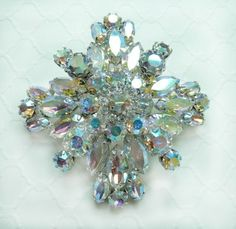 Vintage Rhinestone Jewelry - Weiss Aurora Borealis Rhinestone Brooch - Bridal Pin - Wedding Jewelry - Hairpiece - Brooch Bouquet