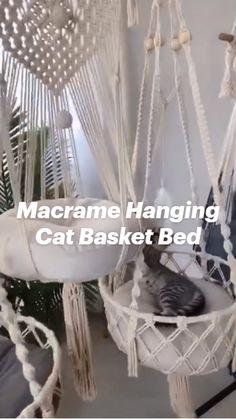 Diy Cat Hammock, Macrame Hanging Chair, Cat Basket, Macrame Plant Holder, Diy Crafts To Do, Cat Room, Macrame Design, Macrame Projects, Macrame Patterns
