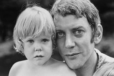 Donald Sutherland with young Kiefer, California, 1970.