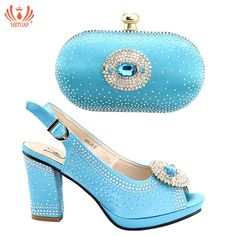 38ac2086ffa New Sky Blue Color African Matching Shoes and Bags Italian Sandals Women  Italian Shoes and Bags for Women Nigerian Wedding Party