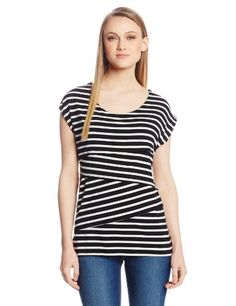 NY Collection Women's Striped Extended Shoulder Criss Cross Tier Top $27.30