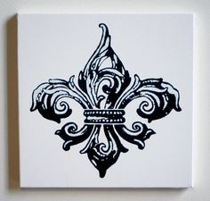 Black & White Fleur de Lis Painting #Saints #FleurDeLis #Painting