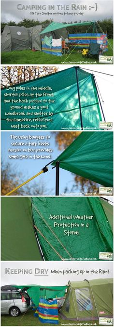 I like this ** Using a Tarp with Your Tent - Stay Dry While Camping...