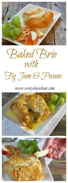 A quick and easy appetizer that is a crowd pleaser. Brie wrapped in phyllo topped with fig jam and crushed pecans. This is great for any party and always a hit at a Holiday party!