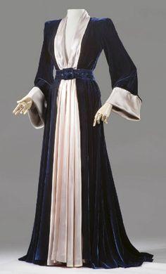 ~A peignoir of midnight blue velvet, Maggy Rouff, 1947~