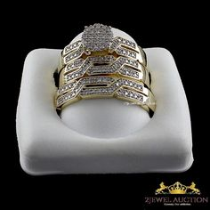 Diamond Wedding 14K Yellow Gold Criss Cross Trio Bridal Band Engagement Ring Set