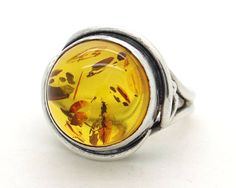 Natural Baltic Amber & Sterling Silver Ring Size 6.75 - Large Genuine Amber Stone, Handcrafted Vintage European Artisan Jewelry at VintageArtAndCraft