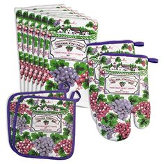 The Vineyard Kitchen Linens Set from Design Imports is the perfect gift for a housewarming, new apartment or dorm. Includes terry kitchen towels, pot holders, and oven mitts in a classic vineyard print. Kitchen Linens Sets, Kitchen Sets, Kitchen Tools, Kitchen Themes, Dish Towels, Bedding Shop, Decorative Items, Pot Holders, Vineyard