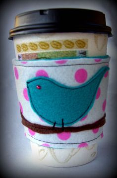 My coffee cozy by rockentot on etsy....I have several of her designs and use them daily...i love them!!!