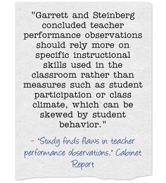 New Study Suggests That Teacher Observations Should Focus More On Teacher Inputs, Less On Student Outcomes