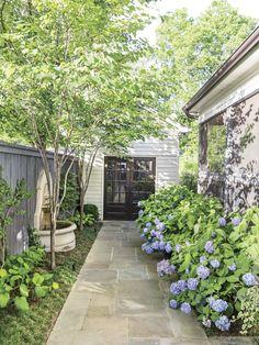 Side Yard Walkway with Endless Summer Hydrangeas in Birmingham, AL Garden Small Backyard Design, Small Backyard Patio, Backyard Ideas, Birmingham, Landscape Design, Garden Design, White Brick Houses, Side Yard Landscaping, Landscaping Ideas
