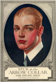 The Arrow Collar Man is the creation of J. Leyendecker, a German-American illustrator of magazine covers and advertisements in the Running for over 20 years, Leyendecker used the same model the entire time, his lover Charles Beach Retro Advertising, Vintage Advertisements, American Illustration, Illustration Art, Vintage Posters, Vintage Art, Jc Leyendecker, Flapper, Norman Rockwell