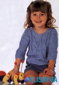 Ажурный пуловер для девочки вязаный спицами | Блог elisheva.ru