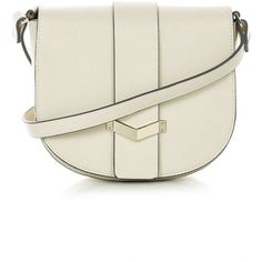 TopShop Smart Saddle Bag ($55) ❤ liked on Polyvore featuring bags, handbags, shoulder bags, nude, topshop, long shoulder strap handbags, long purses, topshop handbags and white shoulder bag
