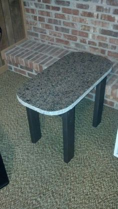 Upcycled granite scrap into indoor/outdoor coffee table.