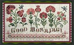 """Good Morning"" is the title of this cross stitch pattern from Tempting Tangles that features a row of delightful posies with dragonflies and a picket fence with the cheery 'good morning' greeting.  I also have the Dinky Dyes Silk Fiber Pack available to stitch this design and you can add to your cart by clicking on the highlighted link."