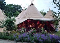 Magical setting in the tipi style marquee in the grounds of Carlton Towers, Yorkshire.