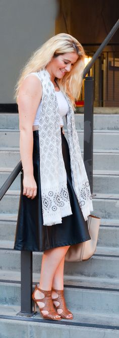 Crop Top + Faux Leather Midi Skirt w. Sarong as Scarf