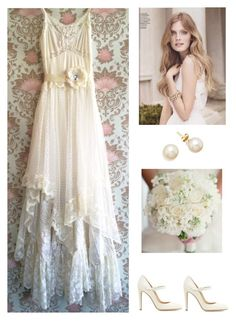 """White Chiffon Polka Dot Tulle Satin & Lace Boho Wedding Dress"" by dezaval ❤ liked on Polyvore featuring Gianvito Rossi"